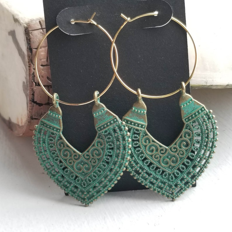 Boho Drop Earrings Verdigris Patina Jewelry Boho Jewelry Southwest Earrings Casual Earrings Gypsy Jewelry Boho Earrings