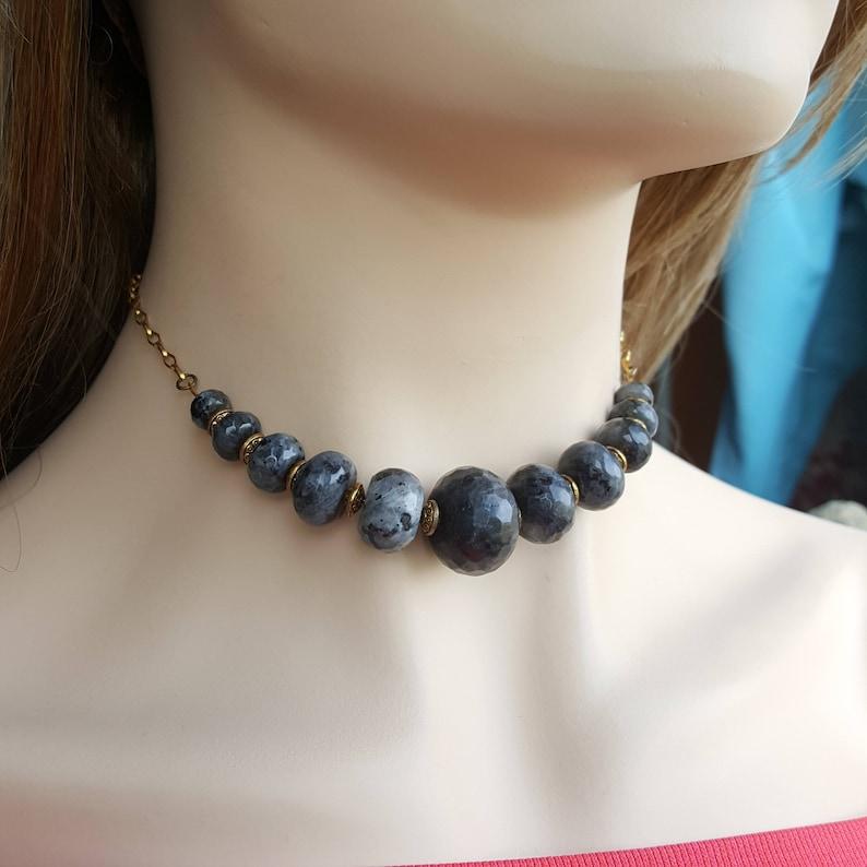 Labradorite Gemstone Choker labradorite necklace boho bead necklace beaded choker bohemian choker boho necklace gift for her boho chic