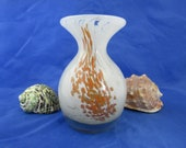 Mdina glass posy vase with flared rim. Maltese glass vase in white and amber Autumn leaves pattern. Signed Mdina glass