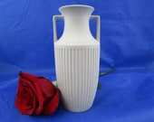 Hornsea pottery vase. Fluted vase in classical form vase in unglazed porcelain twin handled vase from 39 White wedding 39 range