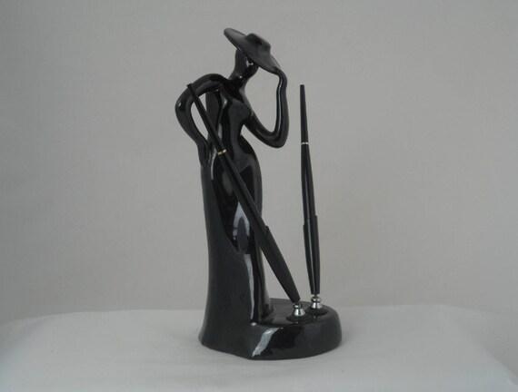Porte stylo rétro support de stylo en céramique noir style art