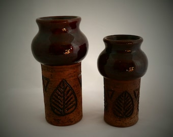 Graduated pair of brown vases with leaf motif by Laholm Keramik of Sweden. 1960s retro home decor