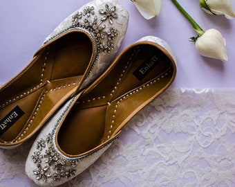 dcfcce8ca6103c The Crystal Bloom - White Lace Bridal Shoes Flats