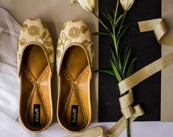 4b86a4dc099e The SUBTLE BLOSSOM - Pale Gold Bridal Shoes Flat