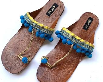 538f17889216d Blue Pom Pom Boho Style Kolhapuri Chappals Shoes for Women Women  Flats Women Sandals Ethnic Indian Flip Flops