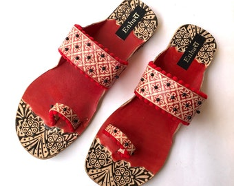 a8596bd66 Red Beaded Boho Style Kolhapuri Chappals/Sandals for Women, Shoes for Women,  Women Flats, Slip Ons, Ethnic Indian Flip Flops