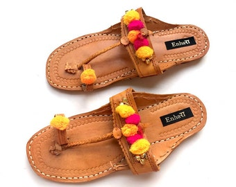 9475b6c977ca9 Boho Style Indian Women Sandals - Brown Art Leather Kolhapuri Chappals with  Multi Color Pom Pom Balls Shoes for Women Ethnic Flip Flops