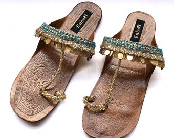 b8555091e Enhara Copper Coin Blue Sandals Bohemian Kolhapuri Chappals Leather Sandals  for Women Handmade Slides Ethnic Indian Flip Flops