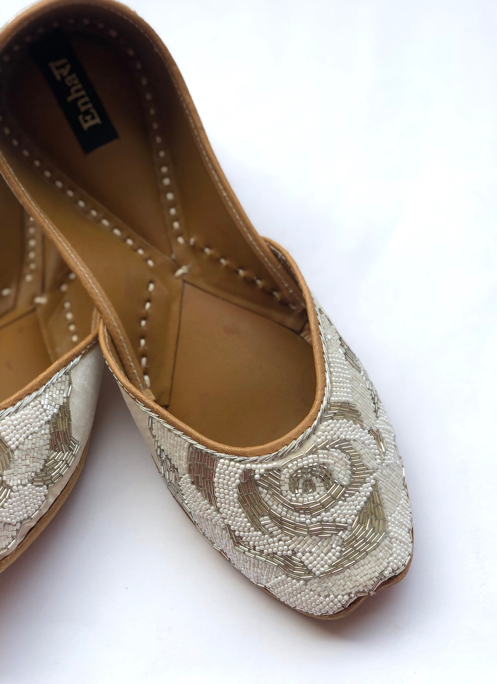 the ethereal rose - white/silver wedding shoes, pearl shoes, bridal shoes, women flat shoes, white bridal ballet flats