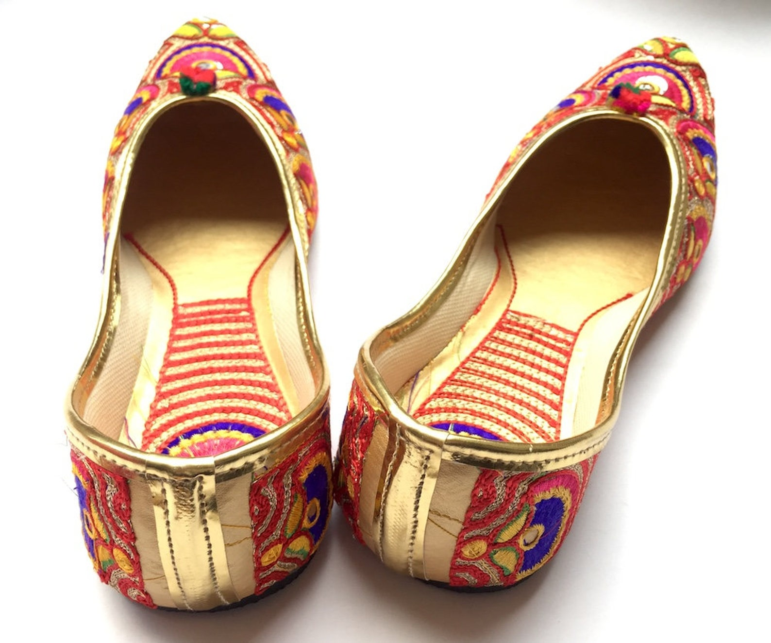 us size 8.5 - womens multi color paisley ballet flat shoes/boho shoes/slip on shoes/handmade indian designer women mojaris or ju