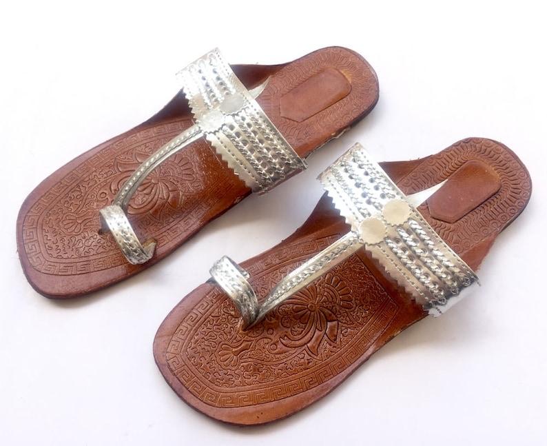 5dea27a55814e Indian Silver Kolhapuri Sandals Chappals Shoes for Women Women