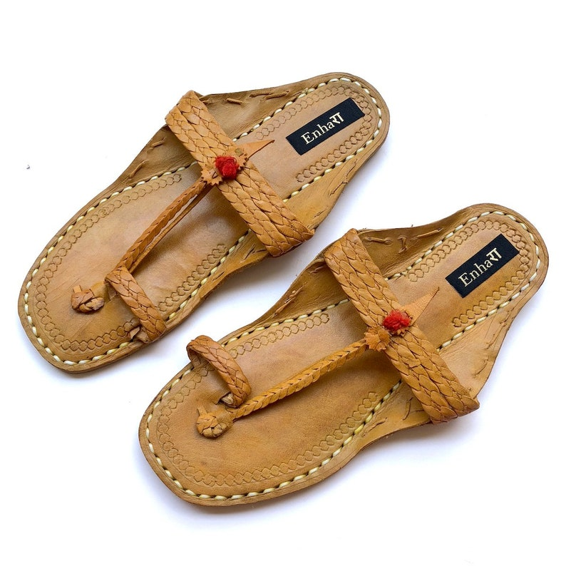 3ac8356b62ce4 Natural Brown Textured Strap Women Kolhapuri Sandals - Shoes for  Women/Women Flats/Ethnic Indian Flip Flops
