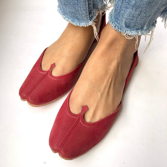 7fc4b557e Womens Red Ballet Flat Shoes Slip On Shoes Indian Shoes