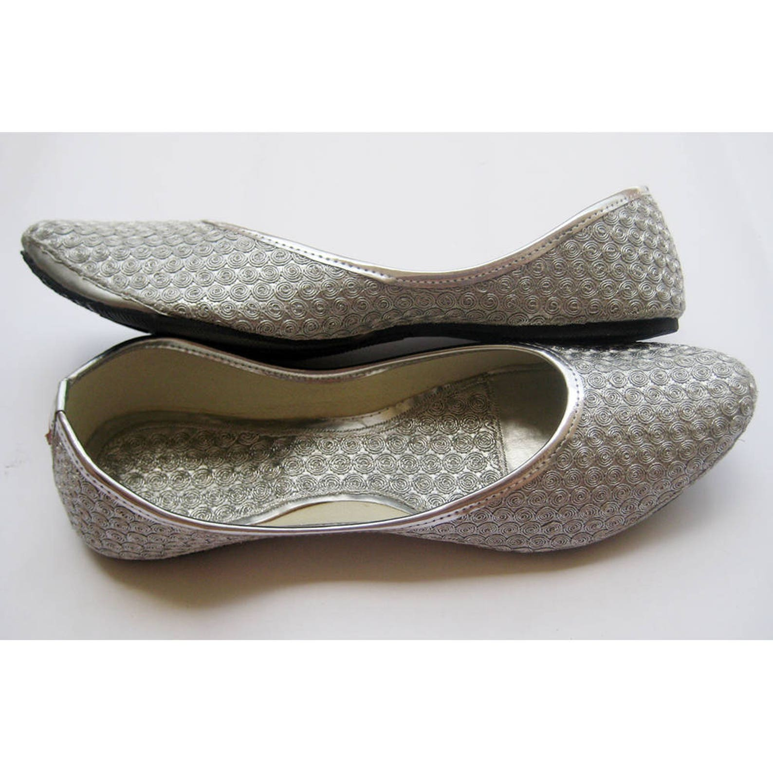 womens silver coin ballet flats/silver shoes/women shoes/wedding shoes/handmade indian designer women shoes or slippers