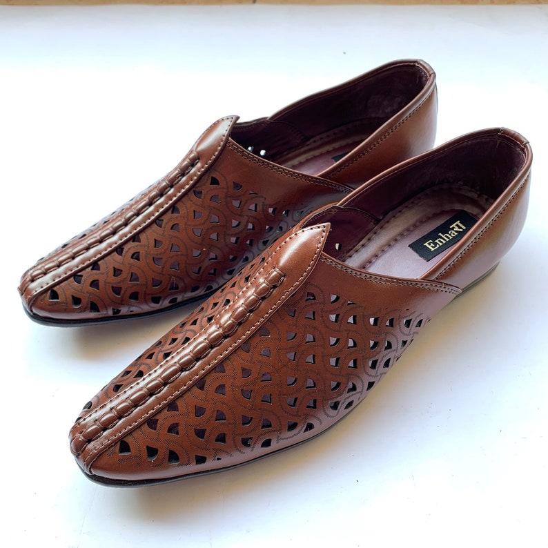 1b4344f4722cc Dark Brown Indian Mens Art Leather Shoes Mens Flat Slides   Etsy