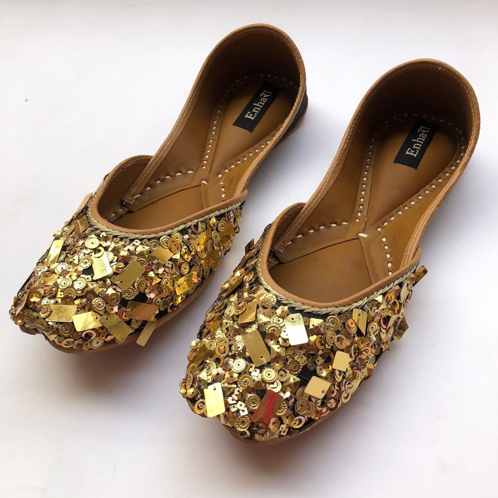 the gold rush - gold and black womens flat shoes, party shoes, women ballet flats, wedding shoes, handmade indian designer shoes