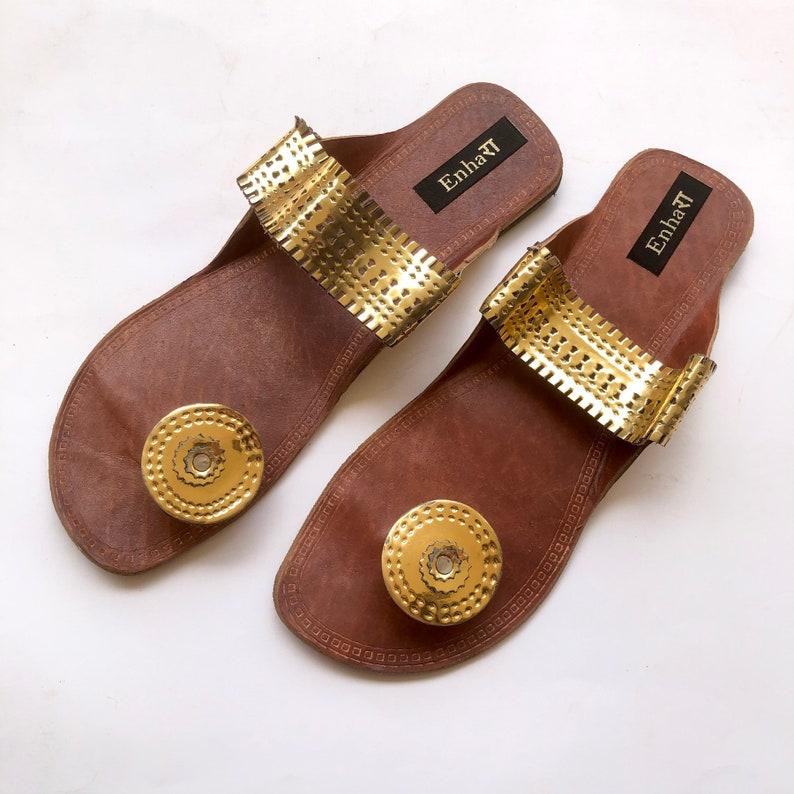 2a1fc9fb1b888 Indian Gold Women Slides, Kolhapuri Sandals, Chappals, Shoes for Women,  Women Flats, Ethnic Flip Flops
