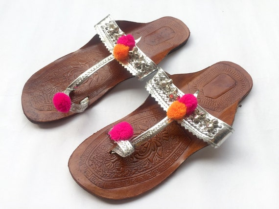 364f1085dfcd0 Silver Kolhapuri Chappals Embellished with Silver Bells and