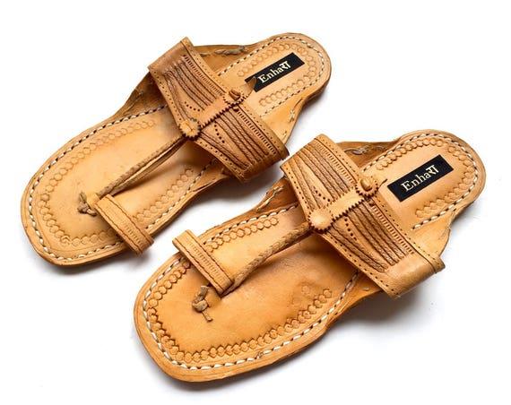 5d4b39bcb26f9 Men Sandals Natural Brown Art Leather Kolhapuri | Etsy