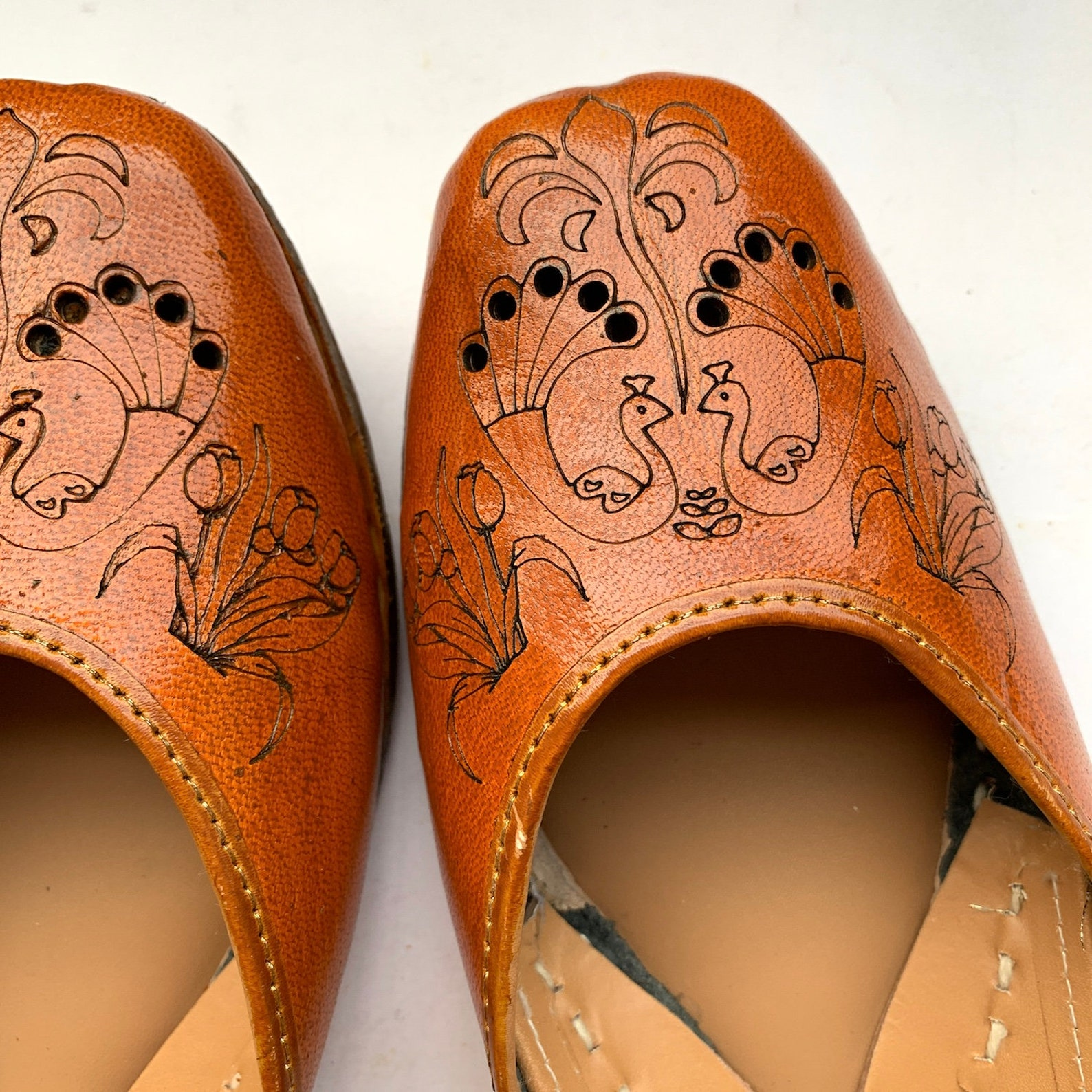 brown peacock etched womens leather ballet flat shoes, indian shoes, handmade designer shoes/juttis or mojaris