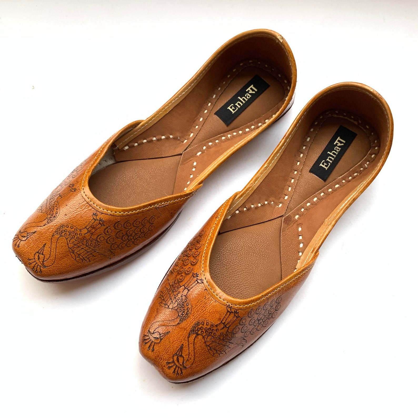 one of a kind peacock engraved womens tan brown leather ballet flat shoes, indian shoes, handmade designer shoes/juttis or mojar