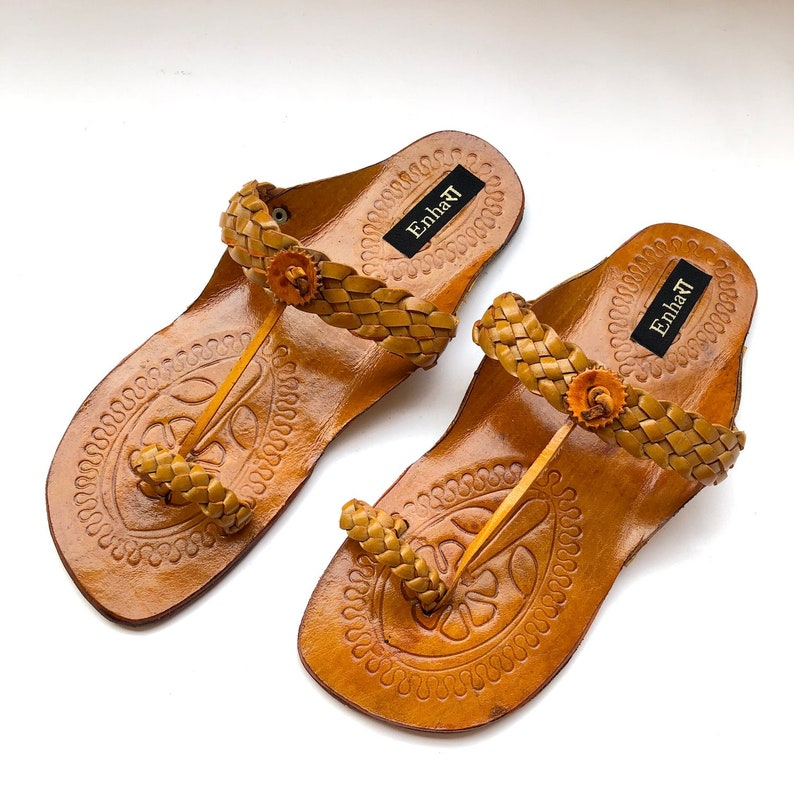 e69bb38505bca Yellow Criss Cross Women Sandals, Natural Leather Slip ons, Women Kolhapuri  Sandals, Shoes for Women, Women Flats, Ethnic Indian Flip Flops
