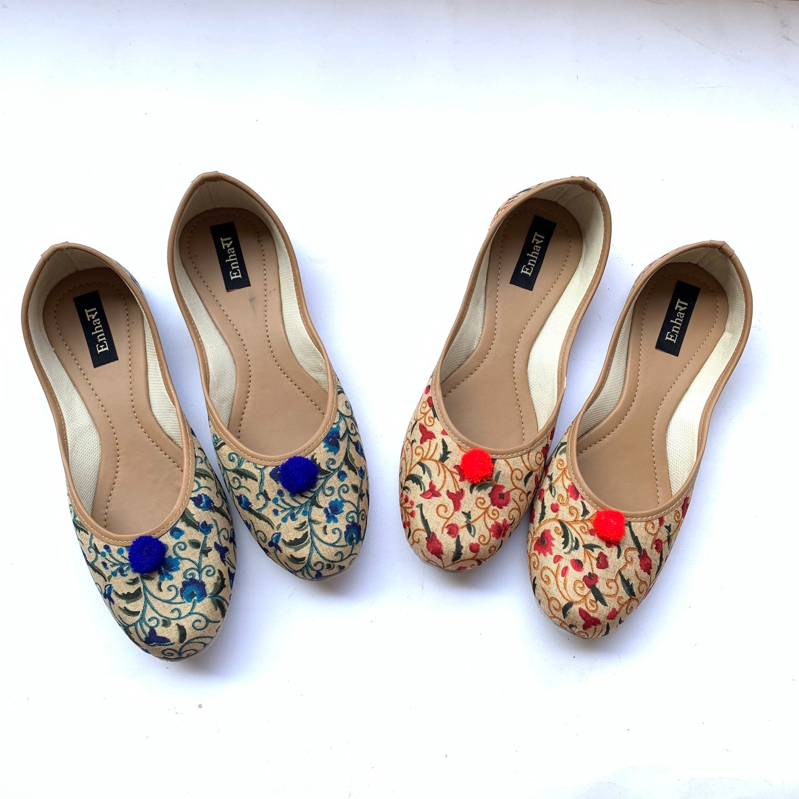 blue floral ballet flat shoes for women, slip on shoes, indian shoes, handmade designer shoes