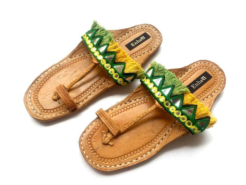 800de9e5050a5 Green and Yellow Fringe Bohemian Indian Leather Sandals - Mirror Work Flip  Flops/Kolhapuri Chappals/Shoes for Women