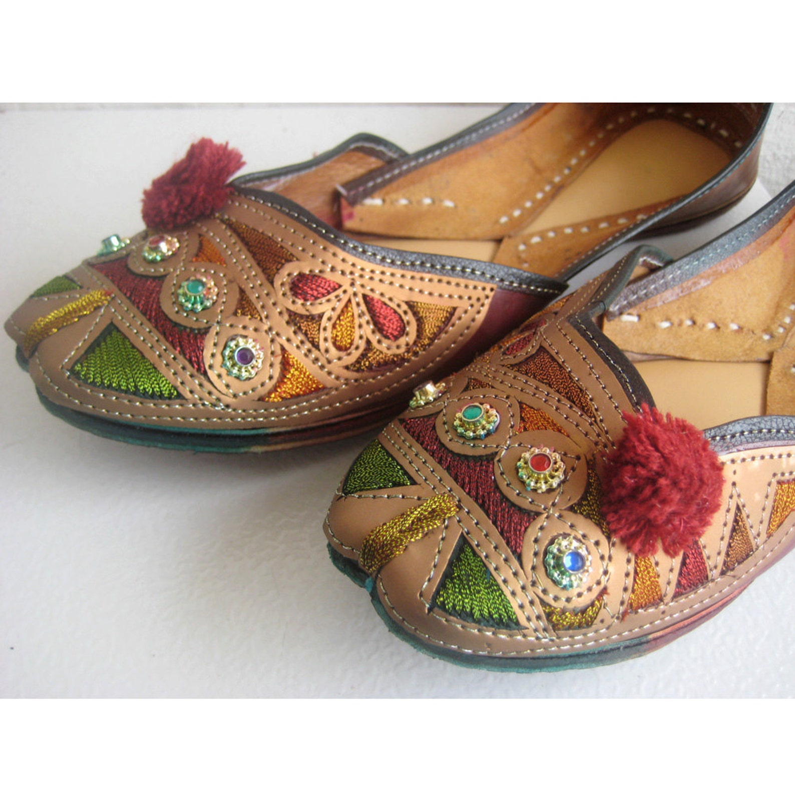 us size 9 - copper ballet flats/handmade indian designer women shoes or slippers/sequins shoes/maharaja style women jooties