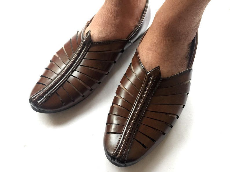 48fa315c1b898 Chocolate Brown Contemporary Indian Mens Art Leather Shoes, Mens Flat  Slides, Handmade Shoes, Mens Slip On Shoes, Mens Designer Shoes