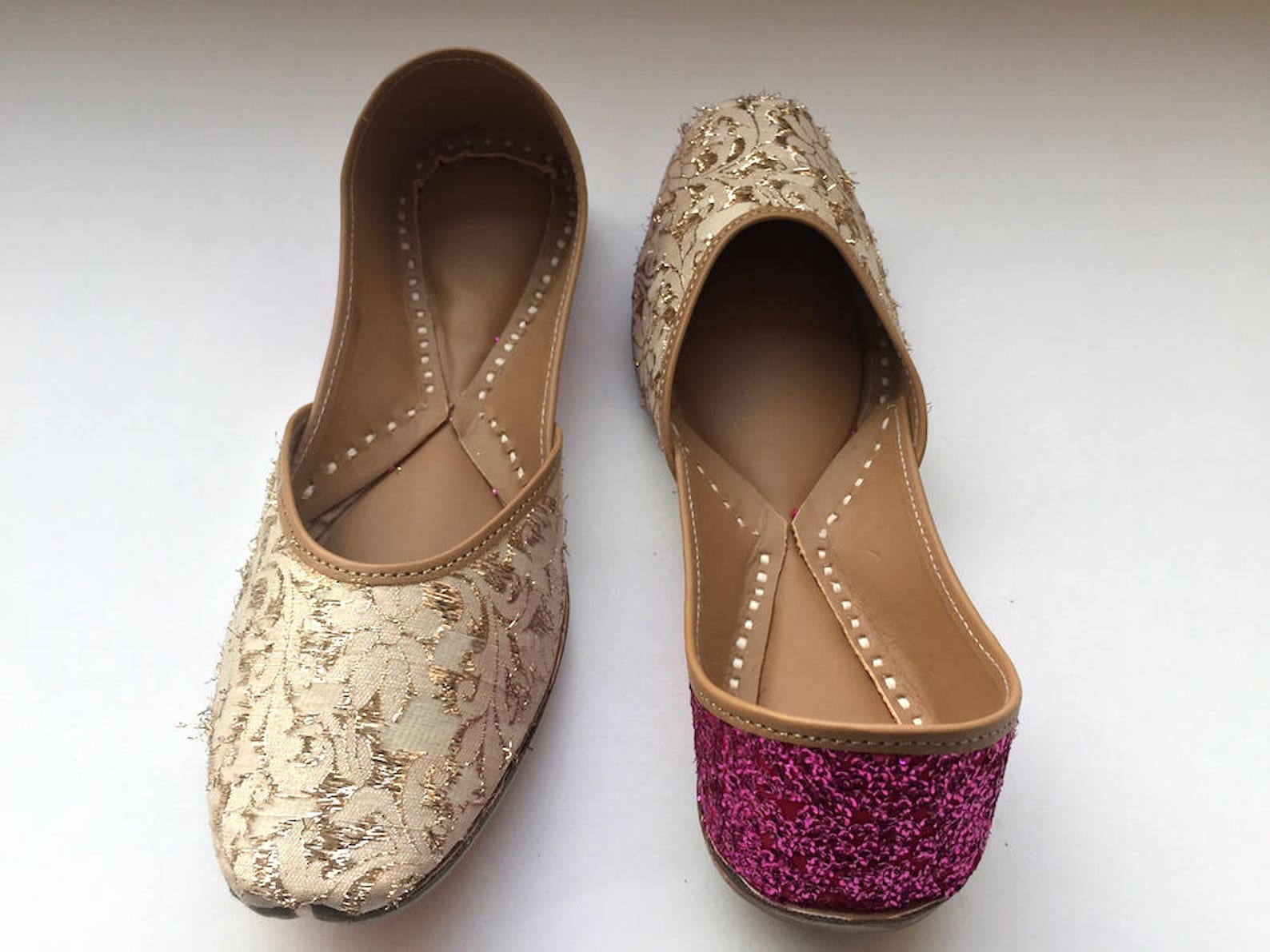 off white and pink shoes with gold and shimmer hints/women shoes/bridal ballet flats/sequins flats/wedding shoes