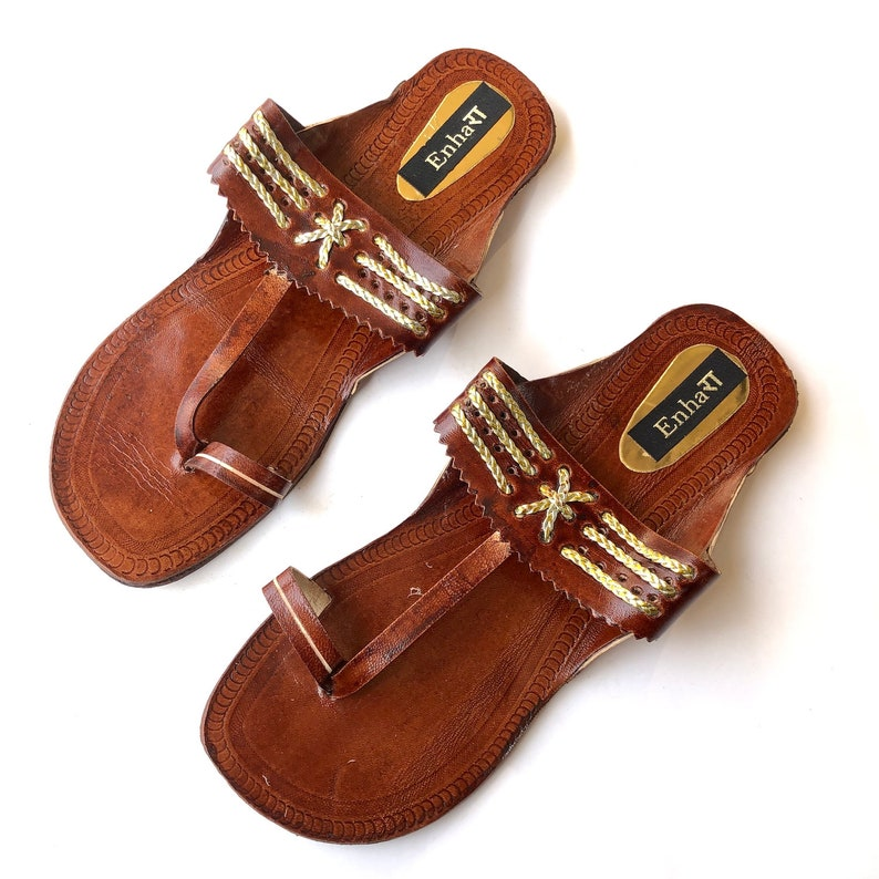 709b15bffe2e3 Dark Brown Indian Leather Kolhapuri Sandals Chappals Shoes for