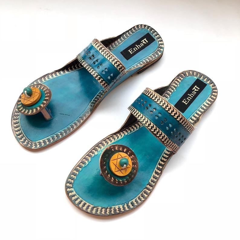 9f4d6740337e2 Turquoise Blue Women Sandals, Kolhapuri Chappals, Women Slides, Shoes for  Women, Women Boho Flats, Ethnic Flip Flops
