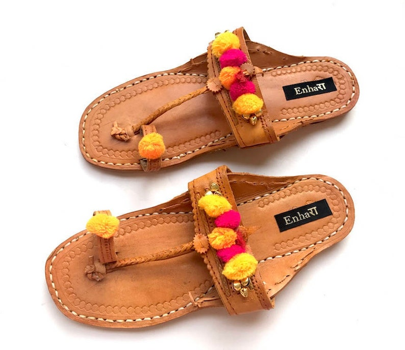 f892612556f30 Boho Style Indian Women Sandals - Brown Leather Kolhapuri Chappals with  Multi Color Pom Pom Balls/Shoes for Women/Ethnic Flip Flops