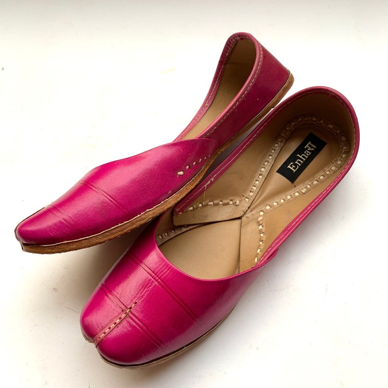 Indian Shoes Handmade Shoes Pink Leather Ethnic Ballet Flat Shoes for Women Womens Casual Shoes Slip Ons