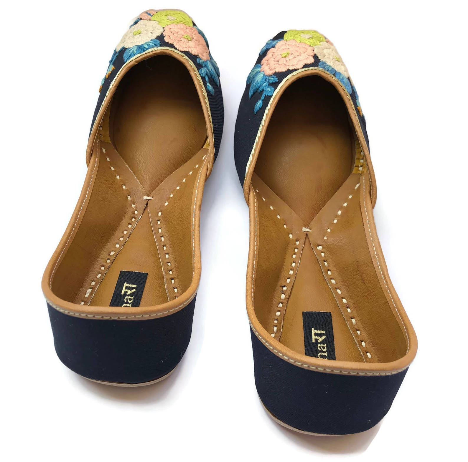 the pastel blossom - enhara designer ballet flat shoes/navy blue flower embroidered shoes/handmade indian ethnic women shoes or