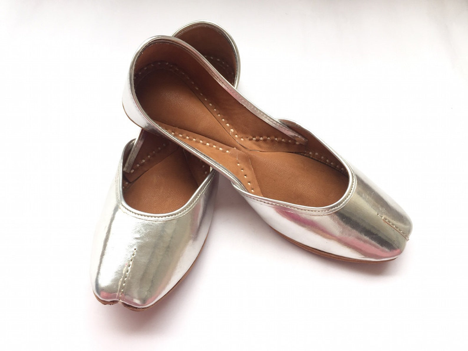 us 10 - chaandi ki parat - metallic silver leather ballet shoes for women, everyday wear - indian shoes from enhara/gift for her