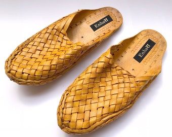 Womens Criss Cross Yellow Brown Leather slip on Shoes,Womens Flats,Handmade Slippers,Womens Shoes,Womens Casual Shoes