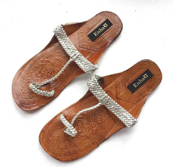 Womenwomen Sandalsethnic Silver Metallic Sandalsslidesindian Flops For Flatswomen Flip Chappalsshoes Kolhapuri Ov8wn0mN