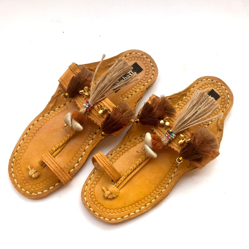 ce7f92481c0a3 Cowrie Shell Brown Kolhapuri Chappals with Tassels and Pom Pom Balls/Summer  Boho Women Flats/Women Leather Sandals/Slides