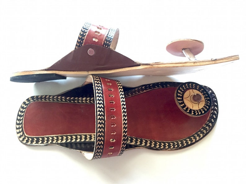 2958ae0a66b97 Brown Indian Slippers Handmade Ethnic Designer Women Sandals