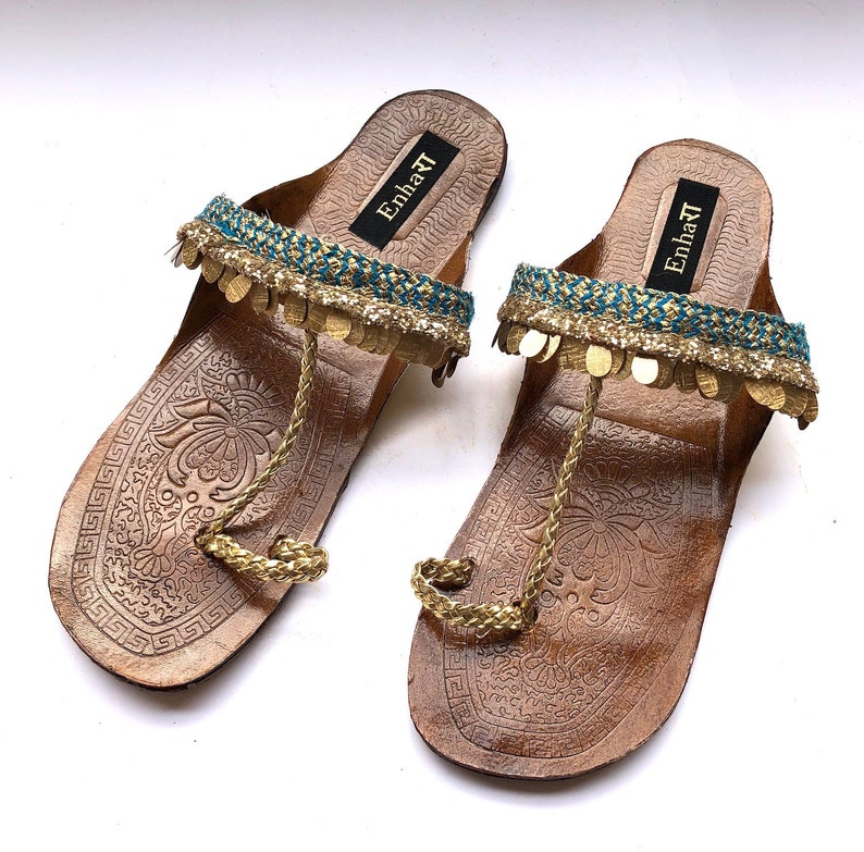 abc5373e08a28 Enhara Copper Coin Blue Sandals Bohemian Kolhapuri