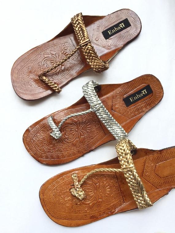 Copper Kolhapuri SandalsSlidesIndian Dark Rose GoldChappalsShoes for WomenWomen FlatsWomen SandalsEthnic Flip Flops
