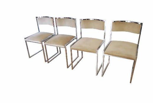 Sedie da sala da pranzo in acciaio e velluto 1970 etsy for Sedie da sala pranzo