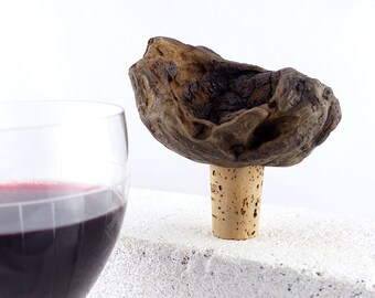 WINE STOPPER DRIFTWOOD Nº 11 wine gift handcrafted unique driftwood burl Wine cork dining barware Bottle Stopper wood sustainable mens gift