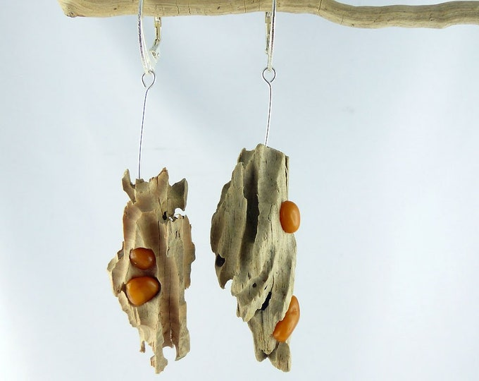 Featured listing image: SABIA BUTTERSCOTCH AMBER driftwood Sterling Silver earrings, genuine amber jewelry dangle statement sustainable, Free Shipping womans gift