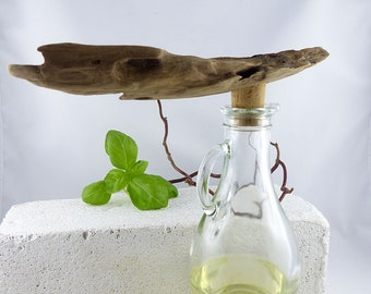 StoneSoft's BOTTLE Nº 4 - OIL and VINEGAR Set vintage glass bottle driftwood cork kitchen dining accessory table decor, one of a kind gift