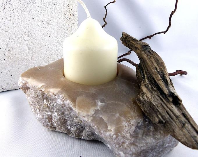 Featured listing image: BIRK stone TEA LIGHT candle holder, driftwood steatite sculpture, home interior homedecor handcarved stone design, unique housewarming gift