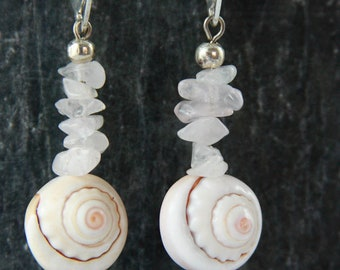 SERINA ROSE QUARTZ Sterling Silver earrings, dangle Sea Shell earrings, Beach mermaid Jewelry, unique eco-friendly womans sustainable gift