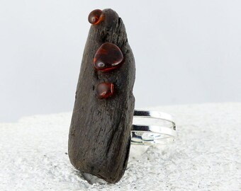 """ADJUSTABLE SILVER DRIFTWOOD Ring """"Torge"""" with amber, natural sustainable fashion wooden ring ecofriendly silver jewelry unique womans gift"""